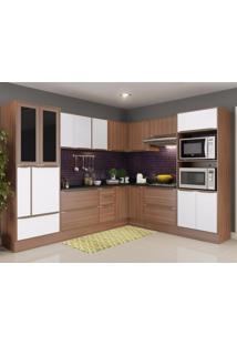Cozinha Completa 13 Peças 19 Portas Calábria Multimóveis Nogueira/Branco Texturizado
