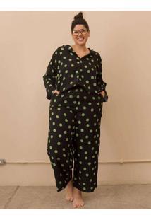 Pijama Clássico Poá Plus Size Verde-G Preto