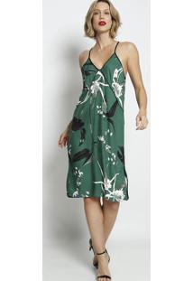 Vestido Com Recorte & Vivos - Verde & Preto - Forumforum
