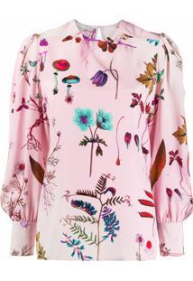 Stella Mccartney Blusa De Seda Com Estampa Floral - Rosa