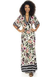 Vestido Ocna Brasil Longo Oriental Floral Bege