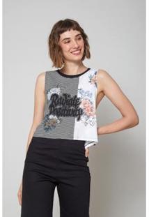Blusa Oh, Boy! Radiate Positivity Listras Feminino - Feminino-Preto+Branco