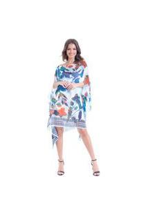 Kaftan 101 Resort Wear Vestido Crepe Plus Size Crepe Estampado Floral Azul Laranja