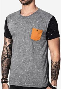 Camiseta Hermoso Compadre Poá Bolso Masculina - Masculino-Cinza