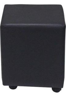 Puff Leo C/Rodízios Plástico Corano Preto - Gran Belo