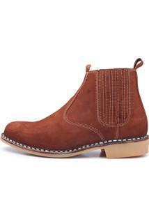 818d87d8e2b ... Botina Vira Francesa Top Franca Shoes Em Couro Marrom