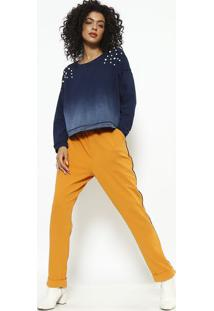 Blusa Em Moletinho Com Aviamentos Perolados - Azul Marinmy Favorite Things
