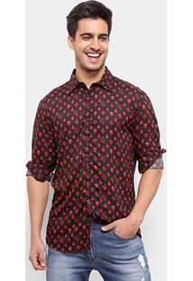 Camisa Cavalera Masculino Manga Longa Pattern Masculina - Masculino-Preto