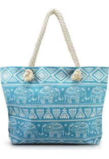 Bolsa De Praia Estampada Com Alça De Corda Jacki Design Turquesa Elefante - Tricae
