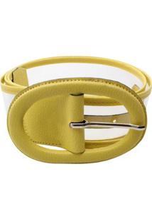 Cinto Birô Fivela Oval Feminina - Feminino-Amarelo