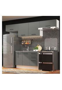 Cozinha Compacta Madesa Agata 280002 Com Armário E Balcáo - Branco/Cinza Cinza