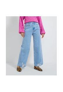 Calça Wide Leg Jeans Com Pingente De Olho Grego   Blue Steel   Azul   46