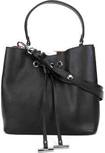 Bolsa Ellus Saco Bucket Bag Monograma Feminina - Feminino-Preto