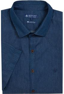 Camisa Dudalina Jeans Pala Frontal Mc Essentials Masculina (Jeans Escuro, 5)