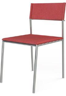 Cadeira Elegante Couro Prensado Vermelho Estrutura Cromada - 41038 - Sun House