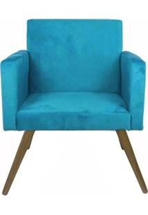 Poltrona Decorativa Pés Palito Nina Suede Azul - Ds Móveis