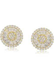 Brinco Viva Jolie Pizza Cristal Médio Ouro - Tricae