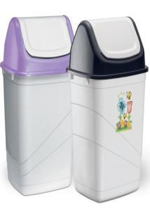 Lixeira Para Cozinha Banheiro Estilo Basculante 14 Litros