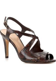 Sandália Couro Shoestock Snake Salto Alto Tiras Feminina - Feminino-Marrom
