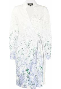 Paule Ka Vestido Envelope Com Estampa Floral - Branco