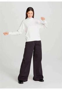 Blusão Feminino Modelagem Box Em Tricot Branco