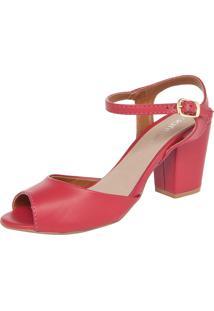 Sandália Dafiti Shoes Salto Grosso Vermelha