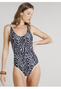 Maiô Body Cavado Sem Bojo Estampado Animal Print De Zebra Com Proteção Uv50+ Preto