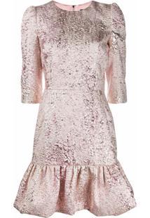 Dolce & Gabbana Vestido De Jacquard Com Lamé - Rosa