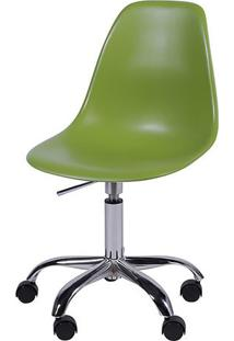 Cadeira Eames Dkr Rodizio- Verde & Prateada- 93X47X4Or Design