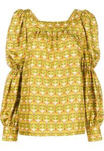 La Doublej Blusa De Seda Estampada - Amarelo