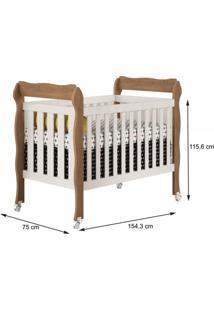 Quarto De Bebê Completo Guarda Roupa 4 Portas, Cômoda E Berço Lila Carolina Baby Branco/Amadeirado