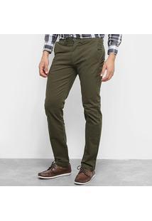 Calça Sarja Aleatory Slim Bolso Faca Masculina - Masculino-Verde Militar