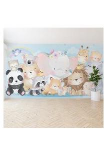 Papel De Parede Painel Infantil Animais Zoo 8 Rolos 12M²