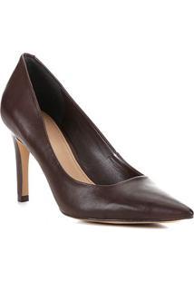 Scarpin Couro Shoestock Classic Salto Alto - Feminino-Marrom