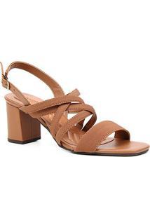 Sandália Couro Shoestock Elástico For You Salto Bloco Médio Feminina - Feminino-Marrom