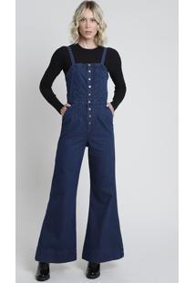 Macacão Jeans Feminino Pantalona Com Bolsos Alça Fina Azul Escuro