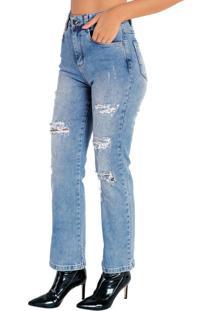 Calça Jeans Reta Com Efeito Destroyed Sawary