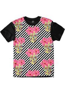 Camiseta Bsc Padrões E Listras Caveiras E Flores Rosas Sublimada Masculina - Masculino-Branco