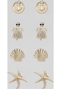 Kit De 4 Brincos Femininos Marítimos Dourado