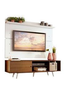 Rack Madesa Dubai E Painel Para Tv Até 65 Polegadas Com Pés Rustic/Branco 5Z09 Branco