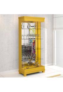 Cristaleira 2 Portas De Vidro E Luminária Bivolt Collins Amarelo - Urbe Móveis