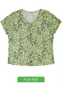 Blusa Com Estampa E Decote V Verde