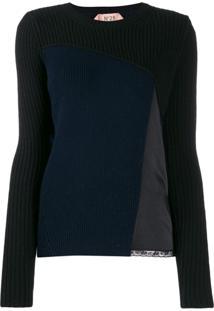Nº21 Suéter Decote Careca Canelado - Azul