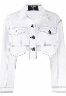 Balmain Jaqueta Jeans Cropped - Branco