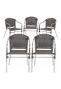 Cadeiras 5Un Para Area Varanda Fibra Sintetica Sala Cozinha Jardim Sacada Floripa - Pedra Ferro