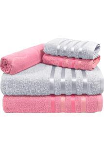 Jogo De Toalha 5 Peã§As Kit De Toalhas 2 Banho 2 Rosto 1 Piso Rosa E Branca - Branco/Rosa - Dafiti