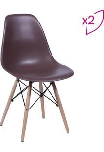 Jogo De Cadeiras Eames Dkr- Cafã© & Madeira- 2Pã§Sor Design