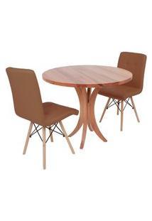 Conjunto Mesa De Jantar Tampo De Madeira 90Cm Com 2 Cadeiras Gomos - Marrom