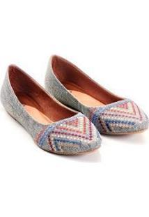 Sapatilha Linho Mizzi Shoes Bordado Feminina - Feminino-Cinza