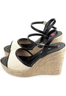 Sandália Anabela Love Shoes Alta Espadrille Tira Juta Preto